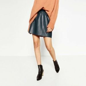 Zara Knit Gathered Green Faux Leather Mini M